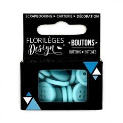Boutons Aigue-marine par Florilèges Design. Scrapbooking et loisirs créatifs. Livraison rapide et cadeau dans chaque commande.