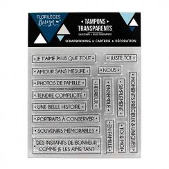 Tampons clear MOTS PRÉCIEUX par Florilèges Design. Scrapbooking et loisirs créatifs. Livraison rapide et cadeau dans chaque c...