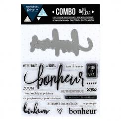 Combo Clear Die BONHEUR par Florilèges Design. Scrapbooking et loisirs créatifs. Livraison rapide et cadeau dans chaque comma...