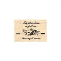 Tampon bois AVEC BEAUCOUP D'AMOUR par Florilèges Design. Scrapbooking et loisirs créatifs. Livraison rapide et cadeau dans ch...