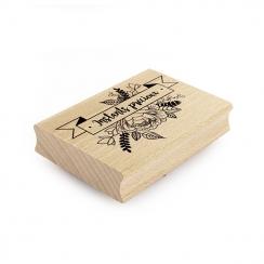 PROMO de -25% sur Tampon bois BANNIERE FLORALE