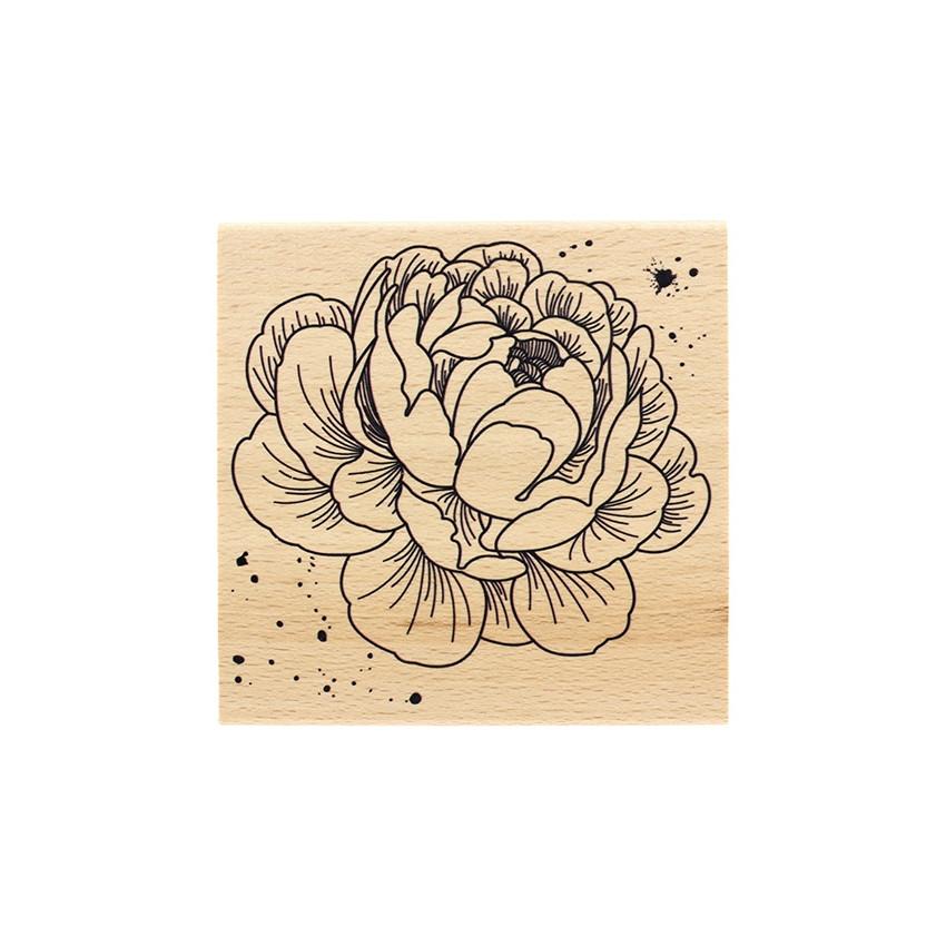 Tampon bois PIVOINE par Florilèges Design. Scrapbooking et loisirs créatifs. Livraison rapide et cadeau dans chaque commande.