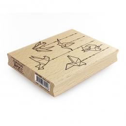Tampon bois OISEAUX ORIGAMI par Florilèges Design. Scrapbooking et loisirs créatifs. Livraison rapide et cadeau dans chaque c...