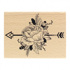 Tampon bois PIVOINE ETHNIQUE par Florilèges Design. Scrapbooking et loisirs créatifs. Livraison rapide et cadeau dans chaque ...