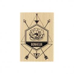 Tampon bois DIRECTION LE BONHEUR par Florilèges Design. Scrapbooking et loisirs créatifs. Livraison rapide et cadeau dans cha...