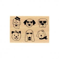 Tampon bois DES CHIENS par Florilèges Design. Scrapbooking et loisirs créatifs. Livraison rapide et cadeau dans chaque commande.