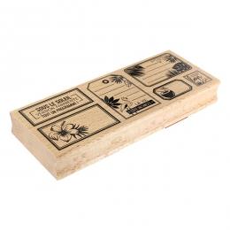 Tampon bois ÉTIQUETTES TROPICALES par Florilèges Design. Scrapbooking et loisirs créatifs. Livraison rapide et cadeau dans ch...