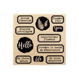 Tampon bois Hello Life