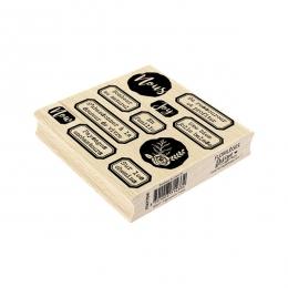 Tampon bois BONHEUR AU NATUREL par Florilèges Design. Scrapbooking et loisirs créatifs. Livraison rapide et cadeau dans chaqu...