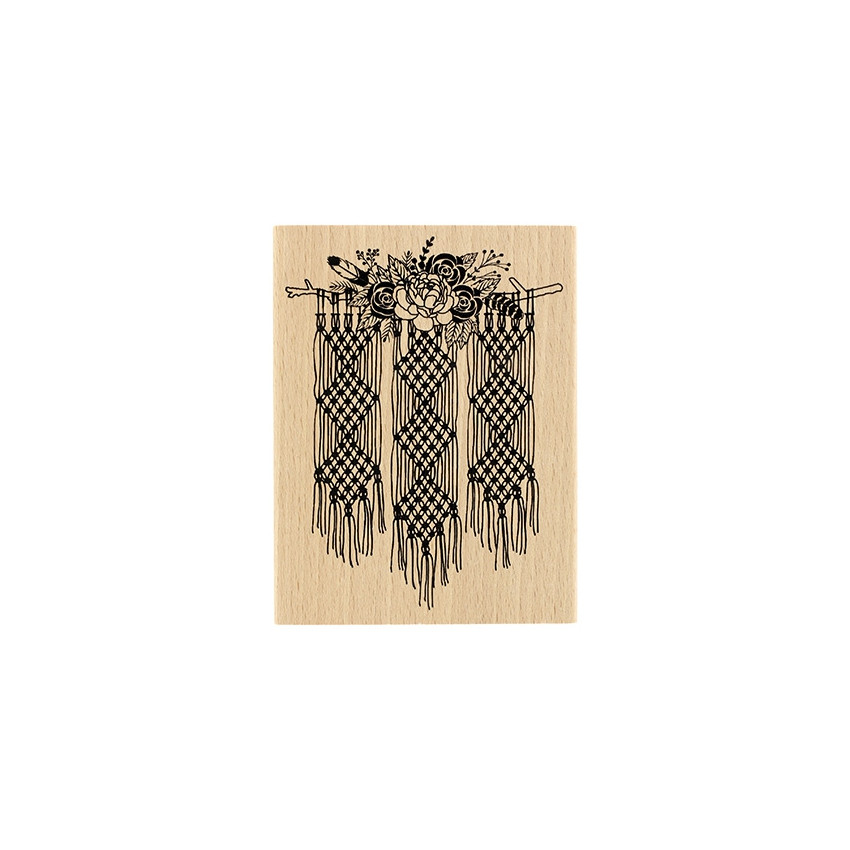 Tampon bois Macramé Floral