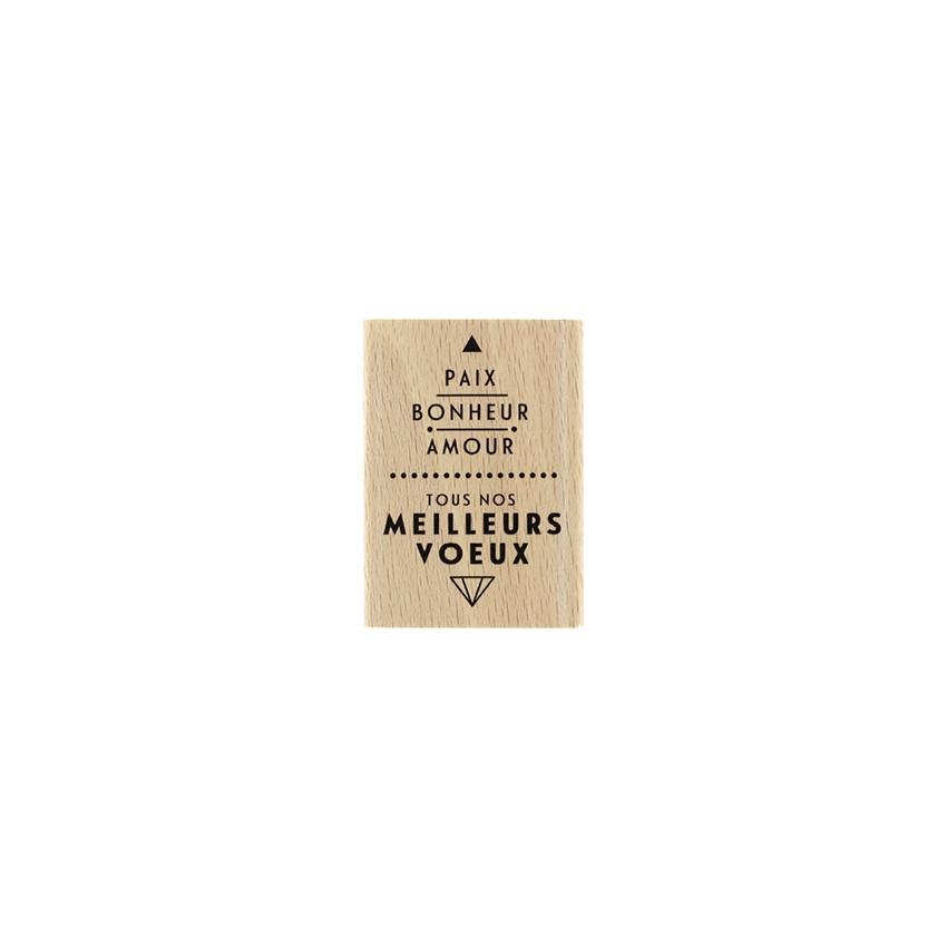 Tampon bois PAIX ET AMOUR par Florilèges Design. Scrapbooking et loisirs créatifs. Livraison rapide et cadeau dans chaque com...