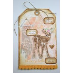 Tampon bois FAON COURONNÉ par Florilèges Design. Scrapbooking et loisirs créatifs. Livraison rapide et cadeau dans chaque com...