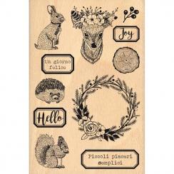 Tampon bois italien ANIMALI DEL BOSCO par Florilèges Design. Scrapbooking et loisirs créatifs. Livraison rapide et cadeau dan...