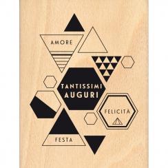 Tampon bois italien TANTISSIMI AUGURI par Florilèges Design. Scrapbooking et loisirs créatifs. Livraison rapide et cadeau dan...