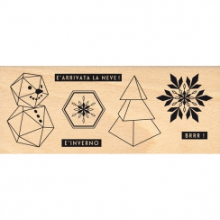 Tampon bois italien PICCOLI PIACERI INVERNALI par Florilèges Design. Scrapbooking et loisirs créatifs. Livraison rapide et ca...