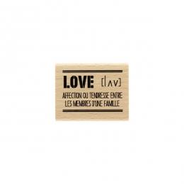 Tampon bois LOVE DÉFINITION par Florilèges Design. Scrapbooking et loisirs créatifs. Livraison rapide et cadeau dans chaque c...