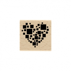 PROMO de -99.99% sur Tampon bois CARRÉS CŒUR Florilèges Design