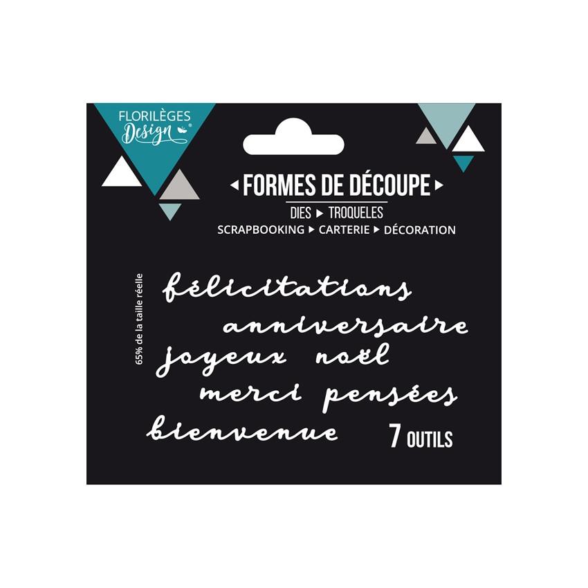 Outils de découpe MOTS DE CARTERIE par Florilèges Design. Scrapbooking et loisirs créatifs. Livraison rapide et cadeau dans c...