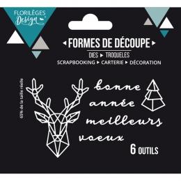 Outils de découpe CERF GÉOMÉTRIQUE par Florilèges Design. Scrapbooking et loisirs créatifs. Livraison rapide et cadeau dans c...