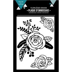 Plaque d'embossage TROIS ROSES par Florilèges Design. Scrapbooking et loisirs créatifs. Livraison rapide et cadeau dans chaqu...