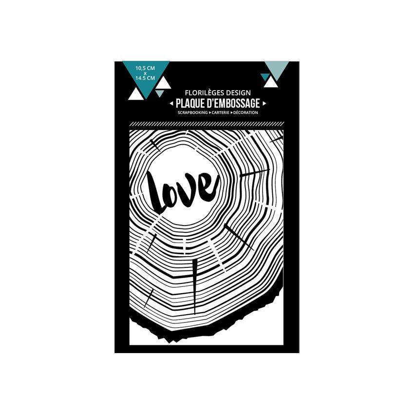 Plaque d'embossage DE BOIS ET D'AMOUR par Florilèges Design. Scrapbooking et loisirs créatifs. Livraison rapide et cadeau dan...