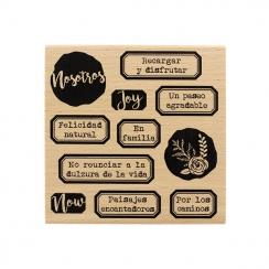 Tampon bois espagnol FELICIDAD AL NATURAL par Florilèges Design. Scrapbooking et loisirs créatifs. Livraison rapide et cadeau...