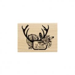 Tampon bois espagnol LA VIDA ES BELLA par Florilèges Design. Scrapbooking et loisirs créatifs. Livraison rapide et cadeau dan...