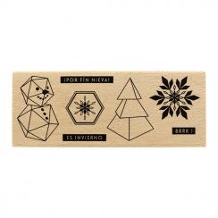 Tampon bois espagnol TROCITOS DE INVIERNO par Florilèges Design. Scrapbooking et loisirs créatifs. Livraison rapide et cadeau...