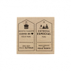 PROMO de -99.99% sur Tampon bois espagnol ENTREGA DE NAVIDAD Florilèges Design
