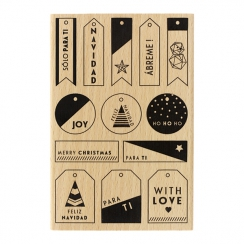 Tampon bois espagnol MIS PEQUEÑAS ETIQUETAS par Florilèges Design. Scrapbooking et loisirs créatifs. Livraison rapide et cade...