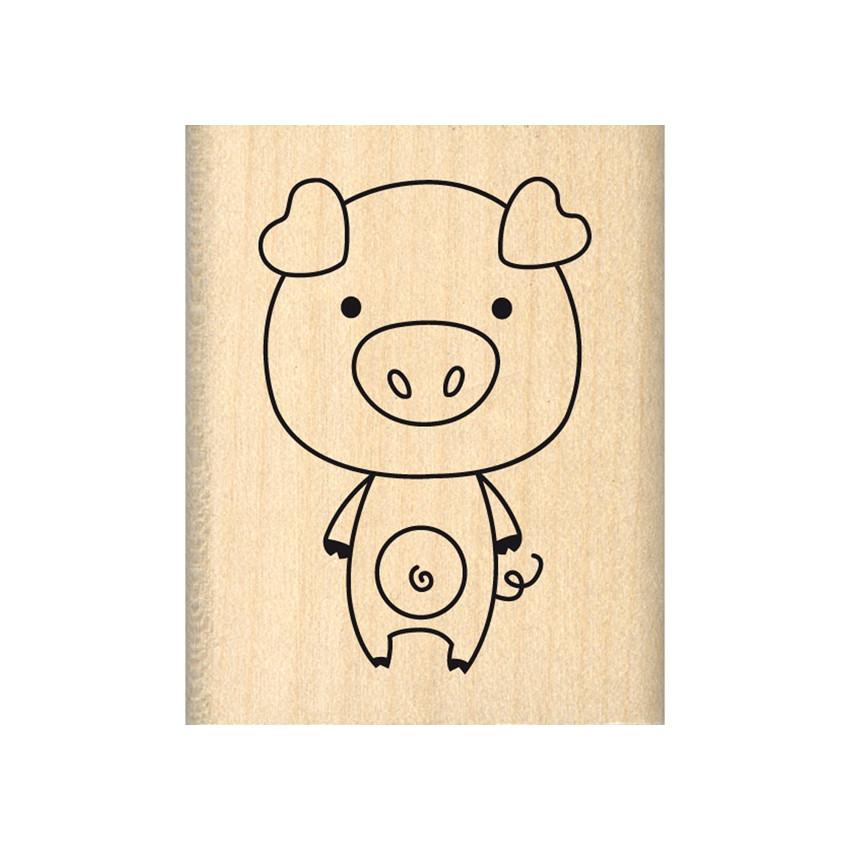 PROMO de -99.99% sur Tampon bois COCHON POP Florilèges Design