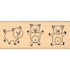 Tampon bois TROIS COCHONS par Florilèges Design. Scrapbooking et loisirs créatifs. Livraison rapide et cadeau dans chaque com...