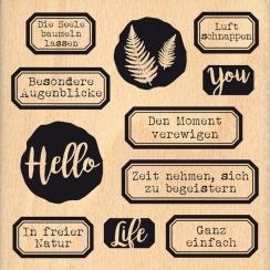 Tampon bois allemand HALLO LEBEN par Florilèges Design. Scrapbooking et loisirs créatifs. Livraison rapide et cadeau dans cha...