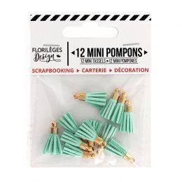 Mini pompons CÉLADON par Florilèges Design. Scrapbooking et loisirs créatifs. Livraison rapide et cadeau dans chaque commande.