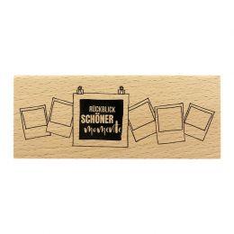 Tampon bois allemand RÜCKBLICK par Florilèges Design. Scrapbooking et loisirs créatifs. Livraison rapide et cadeau dans chaqu...
