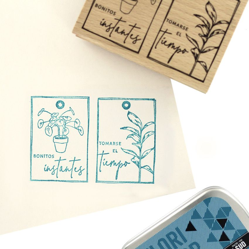 Tampon bois espagnol PILEA Y COMPAÑIA par Florilèges Design. Scrapbooking et loisirs créatifs. Livraison rapide et cadeau dan...