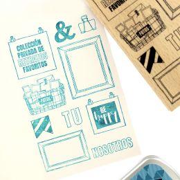 Tampon bois espagnol FOTOS DE RECUERDOS par Florilèges Design. Scrapbooking et loisirs créatifs. Livraison rapide et cadeau d...