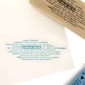 Tampon bois espagnol PASA LA VIDA par Florilèges Design. Scrapbooking et loisirs créatifs. Livraison rapide et cadeau dans ch...