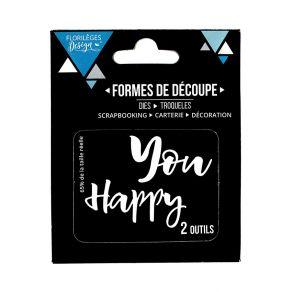 Outils de découpe YOU HAPPY par Florilèges Design. Scrapbooking et loisirs créatifs. Livraison rapide et cadeau dans chaque c...