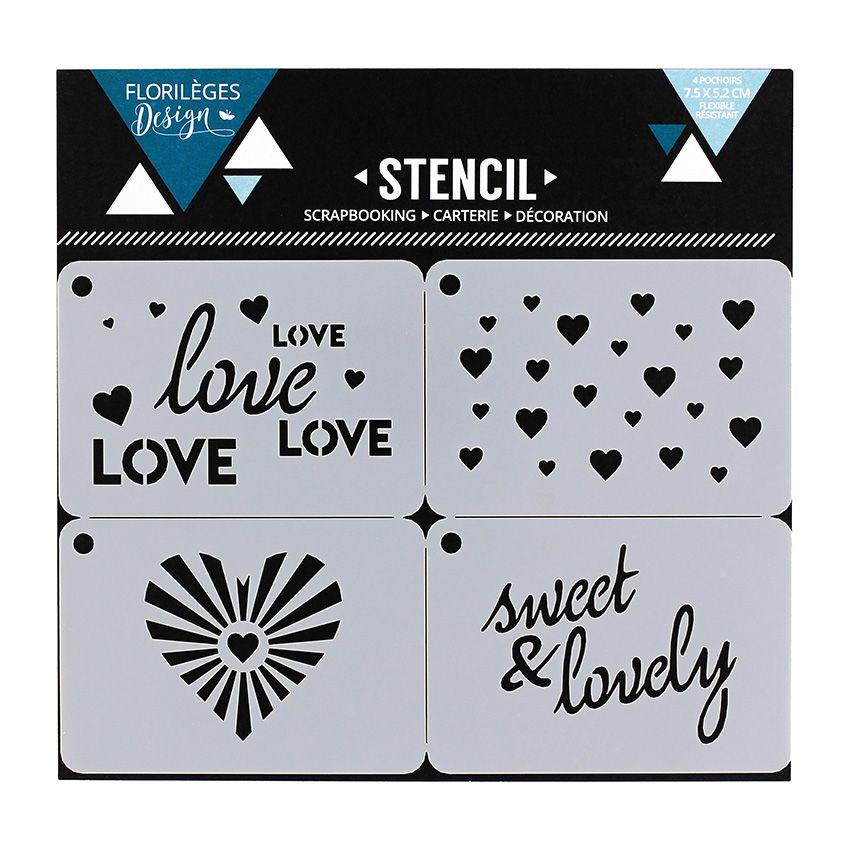 Pochoirs SWEET AND LOVELY par Florilèges Design. Scrapbooking et loisirs créatifs. Livraison rapide et cadeau dans chaque com...