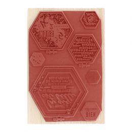 Tampon bois TAMBOURS HEXAGONES par Florilèges Design. Scrapbooking et loisirs créatifs. Livraison rapide et cadeau dans chaqu...