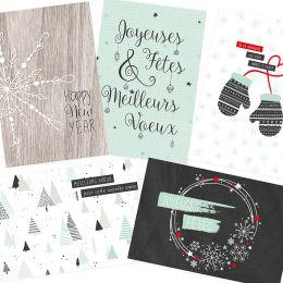 5 cartes de vœux COSY CHRISTMAS