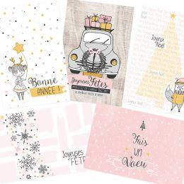 5 cartes de vœux POUSSIÈRE D'ÉTOILES