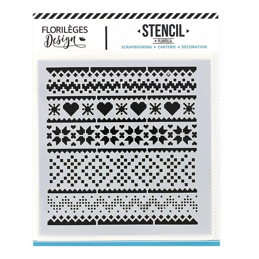 Pochoir MOTIFS D'HIVER par Florilèges Design. Scrapbooking et loisirs créatifs. Livraison rapide et cadeau dans chaque commande.
