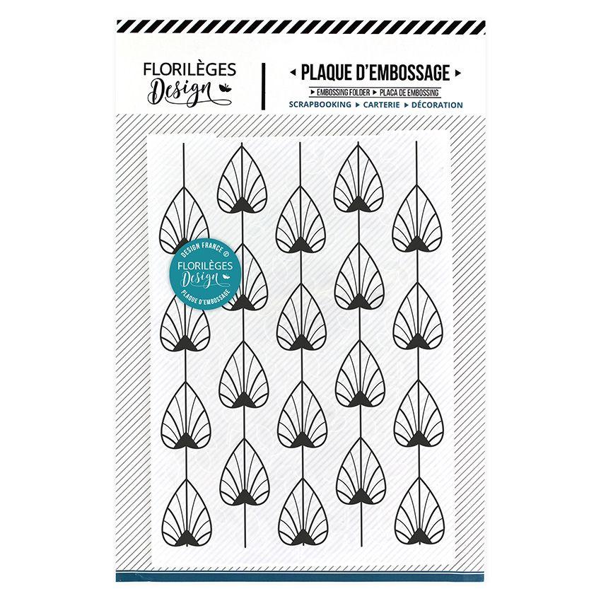 Plaque d'embossage FEUILLES D'OR par Florilèges Design. Scrapbooking et loisirs créatifs. Livraison rapide et cadeau dans cha...
