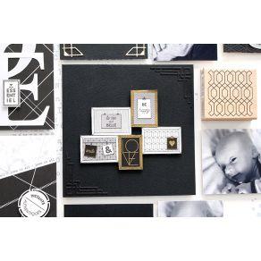Tampon bois ÉTIQUETTE ART DÉCO par Florilèges Design. Scrapbooking et loisirs créatifs. Livraison rapide et cadeau dans chaqu...