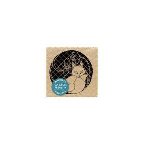 Tampon bois KITSUNE par Florilèges Design. Scrapbooking et loisirs créatifs. Livraison rapide et cadeau dans chaque commande.
